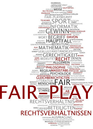 Word cloud of fair-play in German language photo