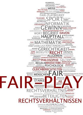 Word cloud of fair-play in German language photo