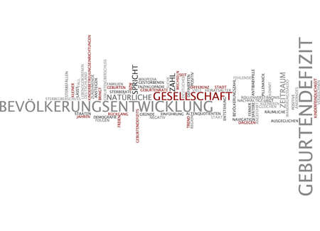 time deficit: Word cloud of birth deficit in German language Stock Photo