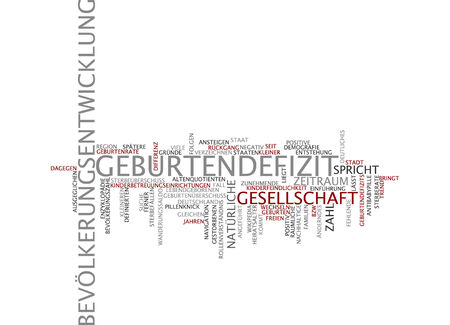 deficit: Word cloud of birth deficit in German language Stock Photo