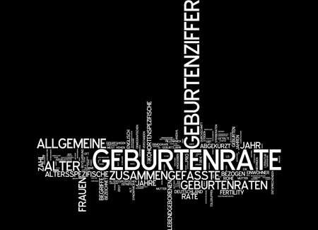 abbreviated: Word cloud of birthrate in German language