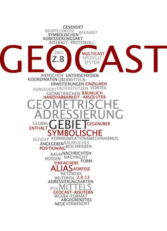 Word cloud of geocast in German language photo