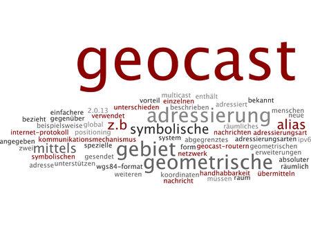 addressing: Word cloud of geocast in German language Stock Photo
