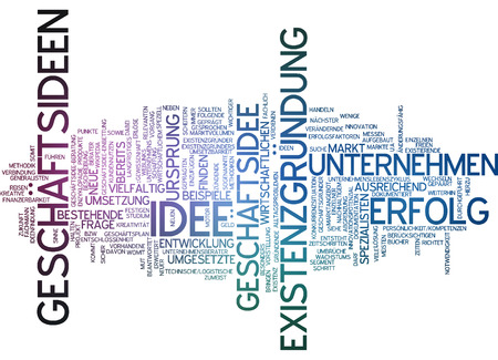 existence: Word cloud of business ideas in German language Stock Photo