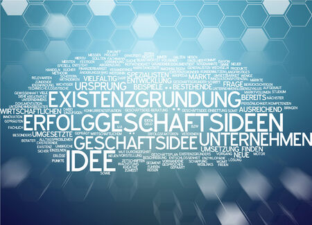 founding: Word cloud of business ideas in German language Stock Photo