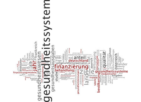 health questions: Word cloud of health system in German language