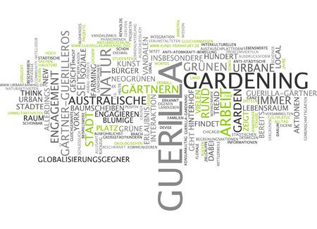 guerilla: Word cloud of guerilla garderning in German language