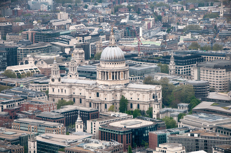 Aerial view of the domed exterior of the historic landmark of St Pauls Cathedral, London photo
