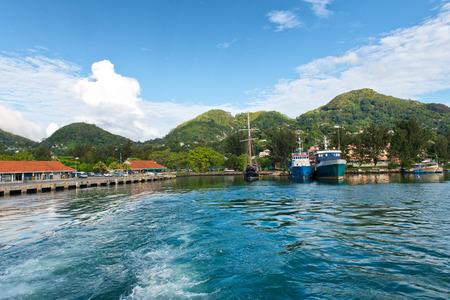 Looking Back at Ships in Victoria Harbor, Mahe, Seychelles photo