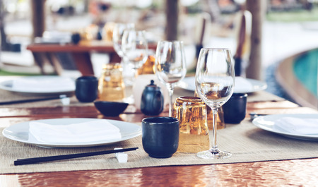 Table Place Settings at Upscale Outdoor Asian Restaurant photo