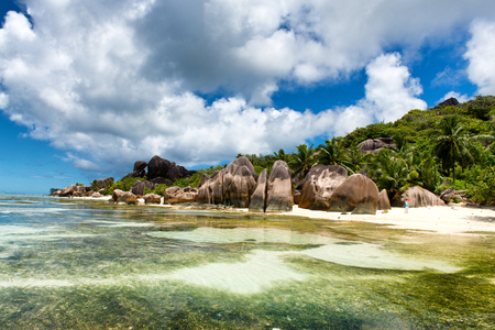 Boulders on Shore of Isolated Lagoon Beach, Anse Source Dargent, La Digue, Seychelles photo