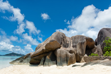 Big Granite Rock Forms at the Paradise of Anse Source dArgent in La Digue Island, Seychelles photo