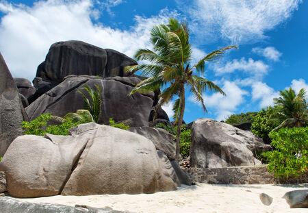 anse source d argent: Large Rocks View at Anse Source D Argent La Digue Island Seychelles. An Enchanting Tourist Destination.