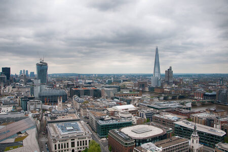shard of glass: Aerial View of Architectural Buildings in London Capital. Captured with Famous Tallest Buildings of the City - Walkie Talkie and The Shard Stock Photo
