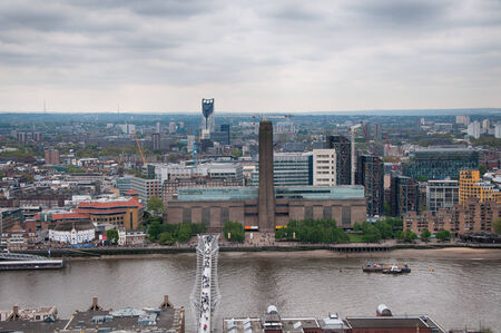 Aerial View of Famous Attractions in London - Millennium Bridge, Museum, River Thames and Other Architectural City Buildings