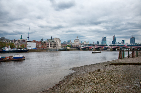 blackfriars bridge: Well Known Attraction in London, River Thames, with Architectural City Buildings on the Sides.