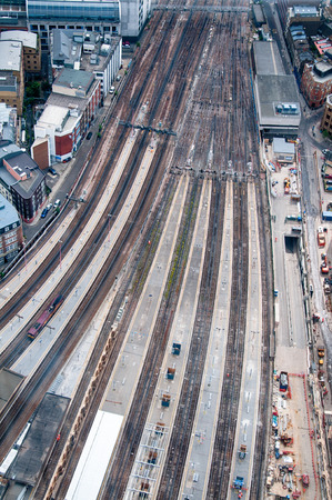 diverging: High Angle View Looking Down at Tracks of Railyard Stock Photo