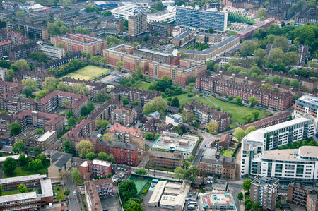 housing estates: High Angle Overview of Residential Area and Green Space in London, England