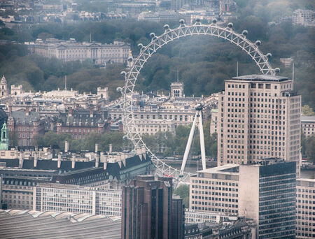 ovoid: Aerial view of London Eye ferris wheel in England Editorial