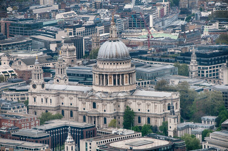 saint pauls cathedral: Aerial view of the domed exterior of the historic landmark of St Pauls Cathedral, London