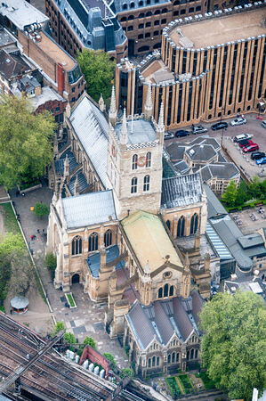 southwark: Aerial View Looking Down at Southwark Cathedral, London, England