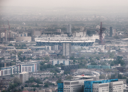 Overview of London with View of Olympic Stadium, Built for 2012 Summer Olympic Games, on Hazy Day