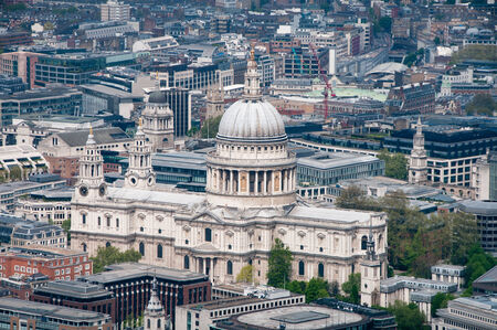 Aerial view of St Pauls Cathedral, London and the surrounding buildings and historical architecture in a travel concept photo