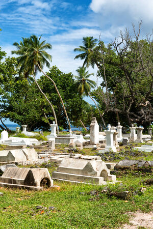 Historical Cemetery at LUnion Esate, La Digue, Seychelles photo