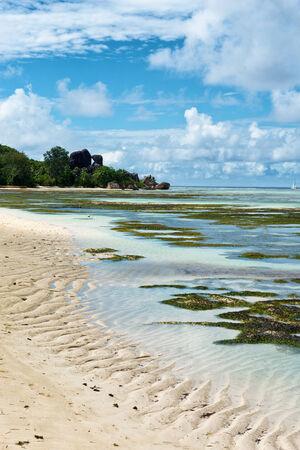 union beach: Tranquil Lagoon at Famous Anse Union in La Digue Island, Seychelles. A Tropical Tourist destination Paradise.