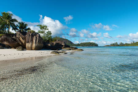 Unusual Rock Formations on Isolated Beach at Anse Lislette, Seychelles photo