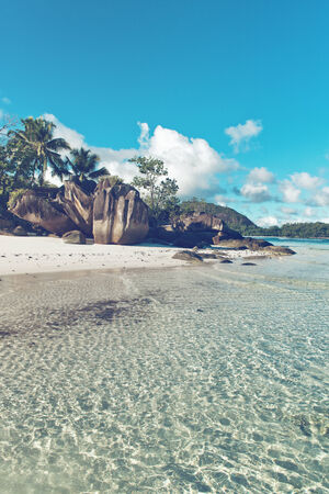 Scenic Beach with Unusual Rock Formations at Anse Lislette, Seychelles photo