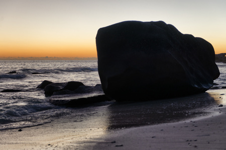 Huge Rocks on the Beach of Seychelles Island. Captured During Sunrise Time photo
