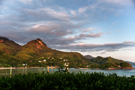 morne: View of Coastline, sea and Morne Seychellois National Park with its mountains near Port Launay, Seychelles