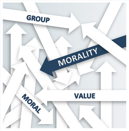 business ethics: Simple Blue and White Arrows for Morality Concept, Emphasizing Group, Moral and Value. Stock Photo