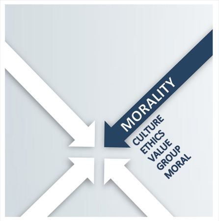 convergence: Close up Blue and White Arrows for Morality Concept. Emphasizing Culture, Ethics, Value, Group and Moral Aspects.