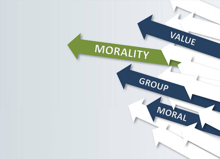 Simple Morality Concept Design with Green, Blue and White Arrows Heading to Upper Right Direction. Isolated on Very Light Blue Gray Background.