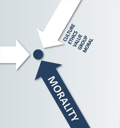 decency: Simple Morality Concept Design - Blue and White Arrows Meeting at Center Point. Emphasizing Culture, Ethics, Values, Group and Moral Elements. Stock Photo