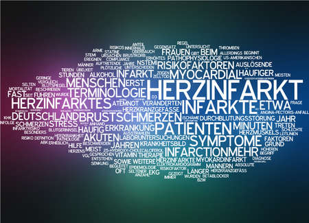 Word cloud of heart attack in German language photo