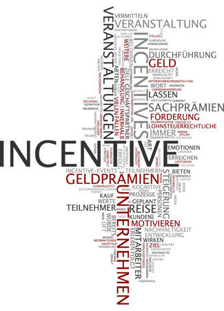 incentive: Word cloud of incentive in German language