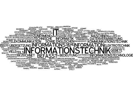 information technology: Word cloud of information technology in German language Stock Photo