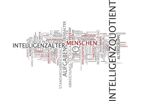 standard deviation: Word cloud of intelligence quotient in German language Stock Photo