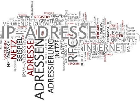 ip: Word cloud of IP address in German language