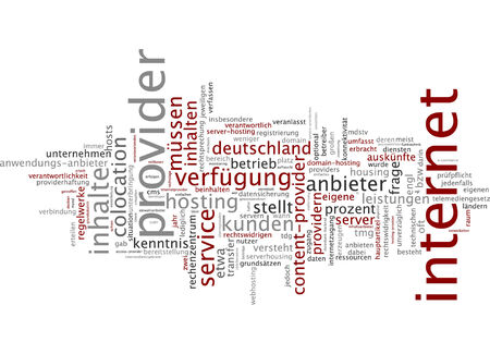 colocation: Word cloud of internet provider in German language