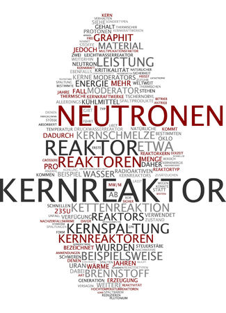 nuclear power station: Word cloud of nuclear power station in German language Stock Photo