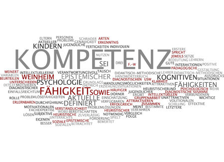Word cloud of competence in German language Stock Photo