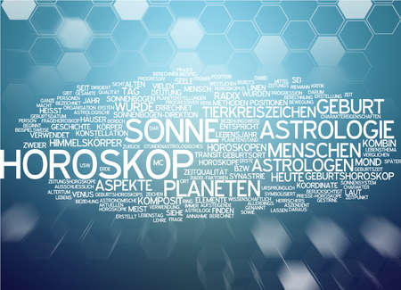 aspects: Word cloud of horoscope in German language Stock Photo