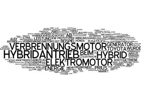 prototypes: Word cloud of hybrid drive in German language Stock Photo