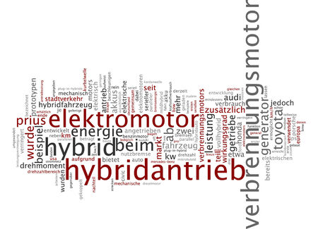 Word cloud of hybrid drive in German language Stock Photo