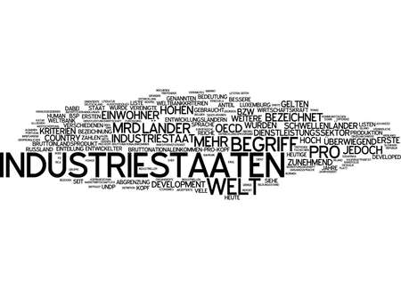 aspects: Word cloud of industrialized countries in German language Stock Photo