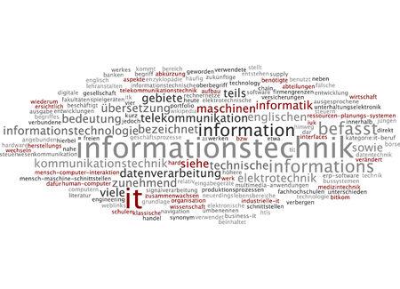 tecnologia informacion: Nube de palabras de la tecnolog�a de informaci�n en el idioma alem�n